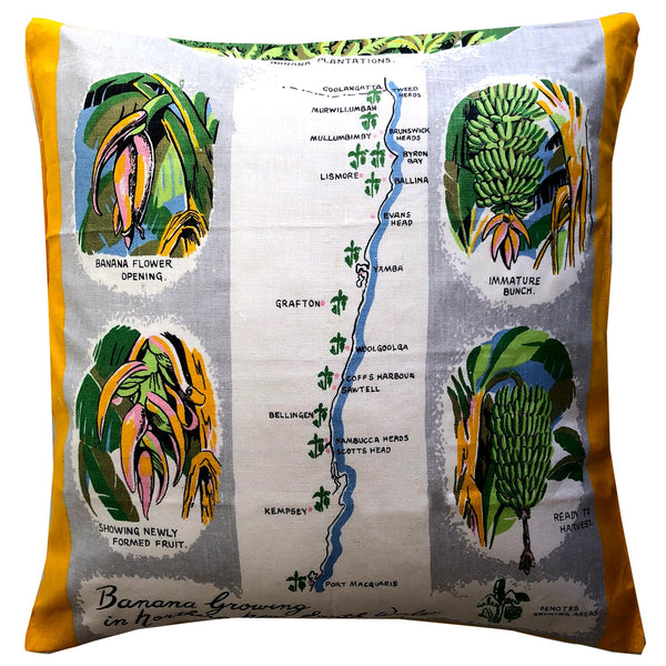 Banana growing souvenir teatowel cushion cover
