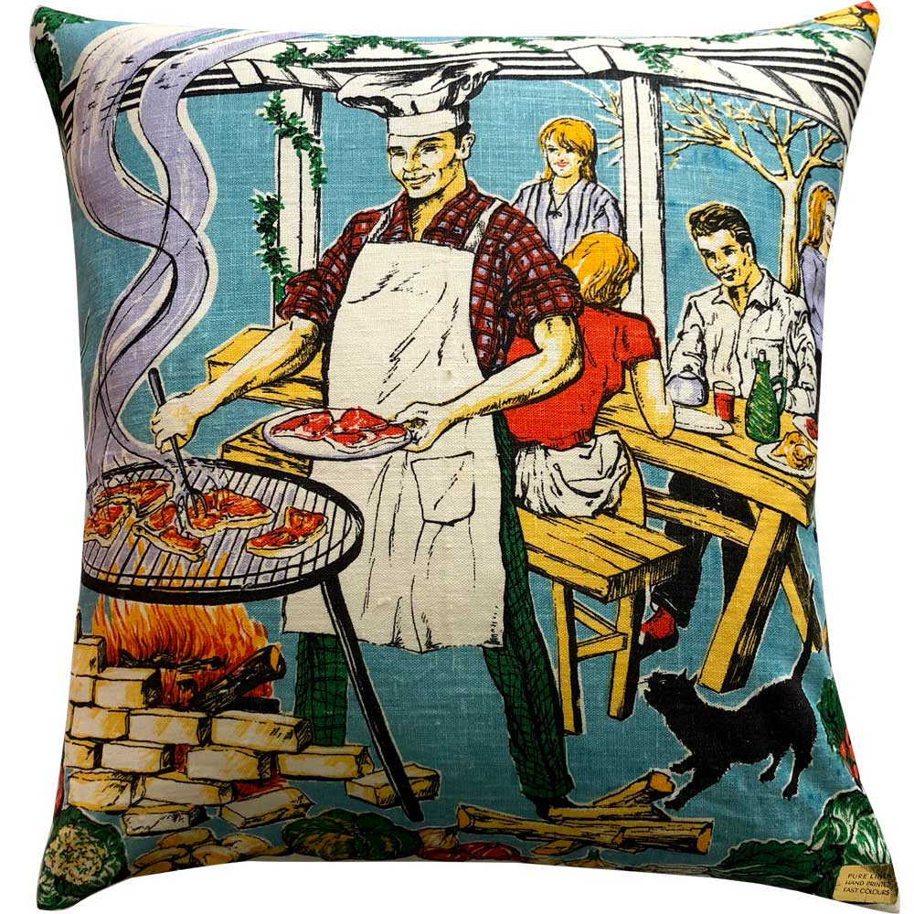 Love And West Barbecue vintage linen teatowel cushion cover