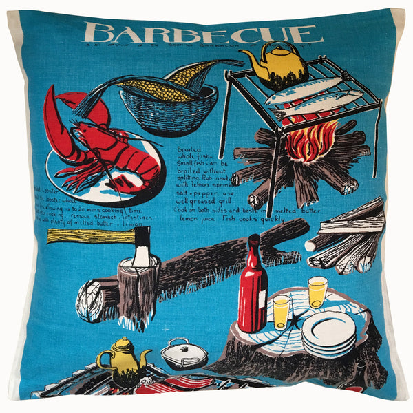 Barbecue vintage linen teatowel cushion cover