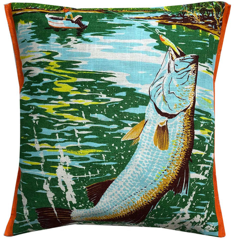 Barra Fishing vintage linen teatowel cushion cover