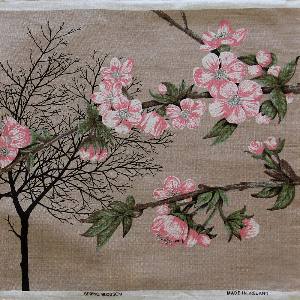Love And West cherry blossom vintage linen teatowel cushion cover