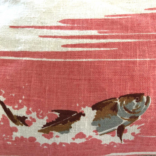 Big game fishing linen souvenir teatowel cushion cover