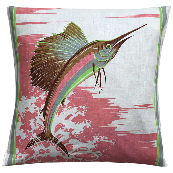 Big fish fishing vintage linen teatowel pillow cover