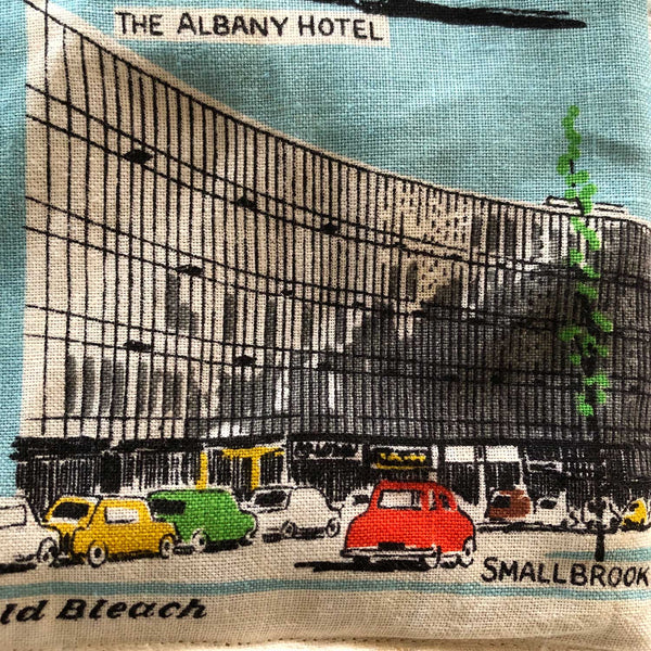 DEtail view Smallbrook building Birmingham teatowel repurposed into cushion cover
