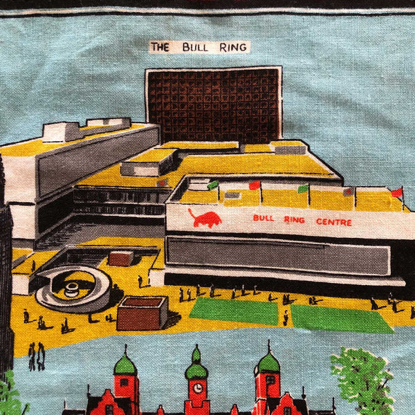 DEtail view The Bull Ring Birmingham teatowel repurposed into cushion cover