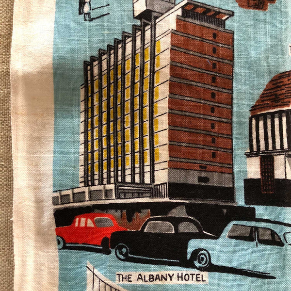 DEtail view The Albany Hotel Birmingham teatowel repurposed into cushion cover