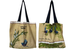 Blue wrens greetings from Taree teatowel tote