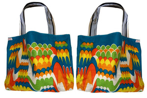 Blue and orange graphics teatowel tote
