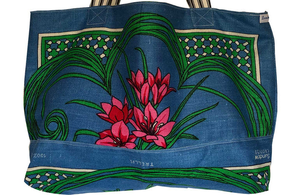 Repurposed teatowel tote blue floral linen