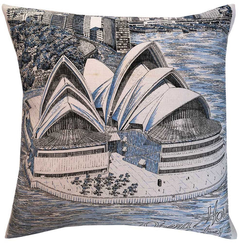 Opera House Sydney line drawn vintage linen teatowel cushion cover