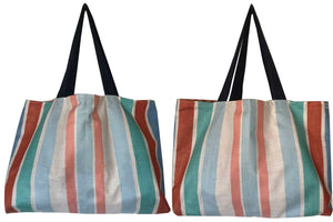 Striped linen vintage teatowel tote bag