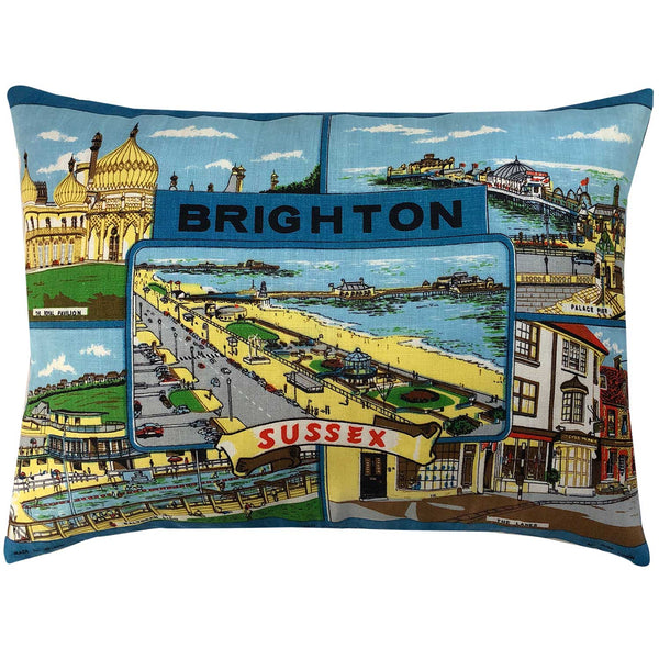 Brighton Sussex vintage linen teatowel cushion cover