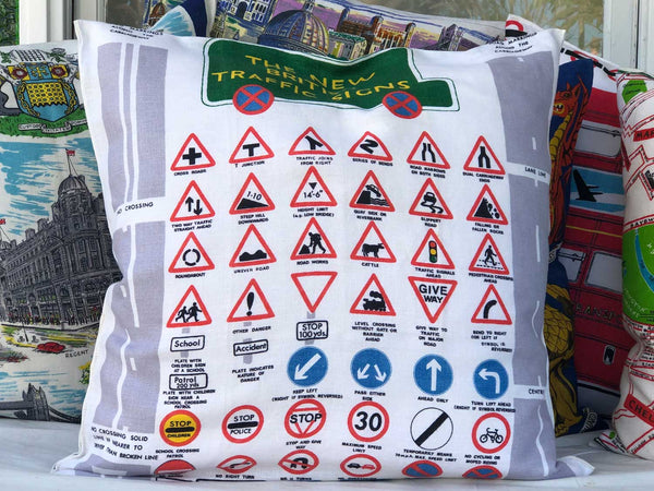 British road signs souvenir teatowel cushion cover