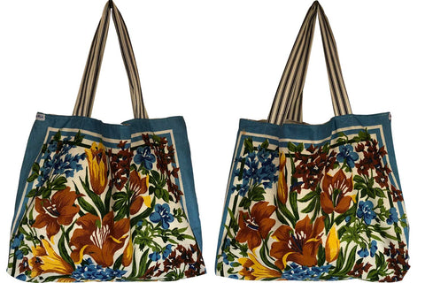 Brown and blue florals teatowel tote bag