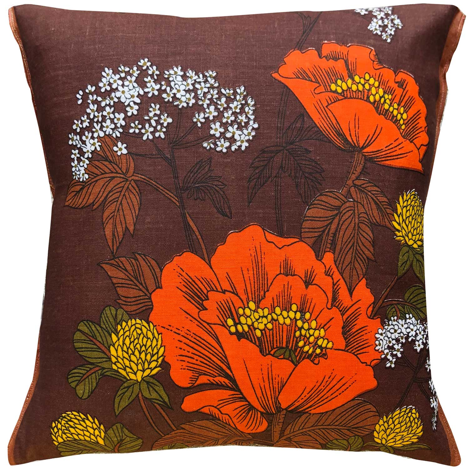 Orange poppies on chocolate brown vintage linen teatowel cushion cover