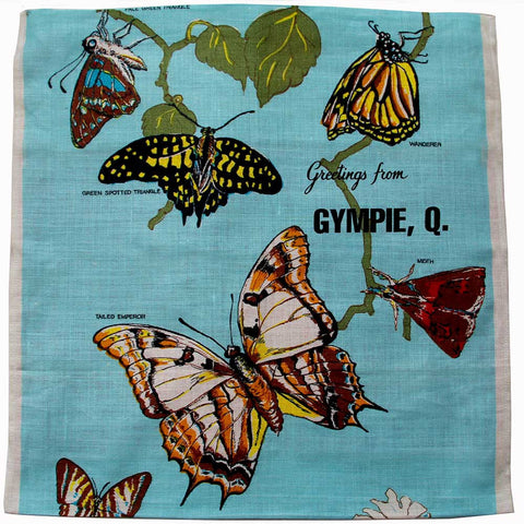 Love And West Gympie butterflies vintage teatowel cushion cover