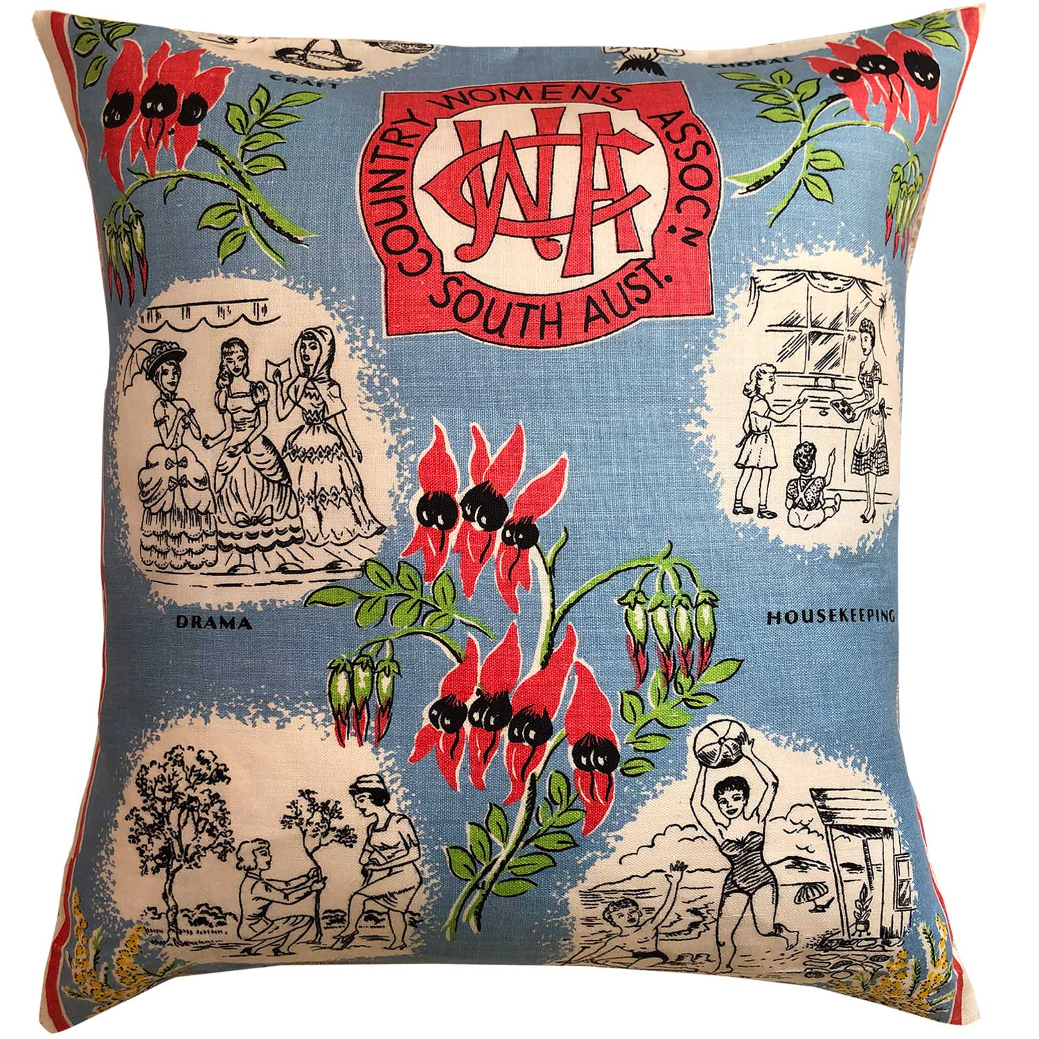 South Australia CWA classic Australiana retro cushion