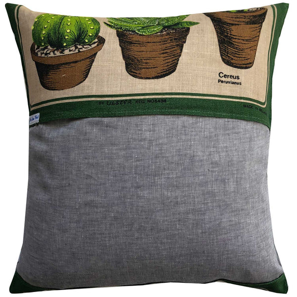 Potted cactus loveliness on a vintage linen cushion cover