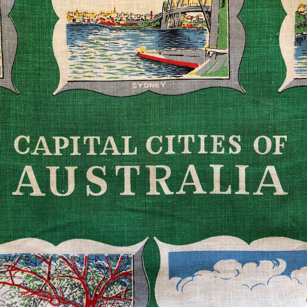 Australian cities 1959 vintage linen teatowel cushion cover