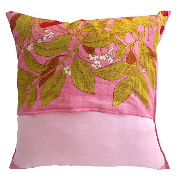 Cherries and blossoms on pink vintage linen cushion