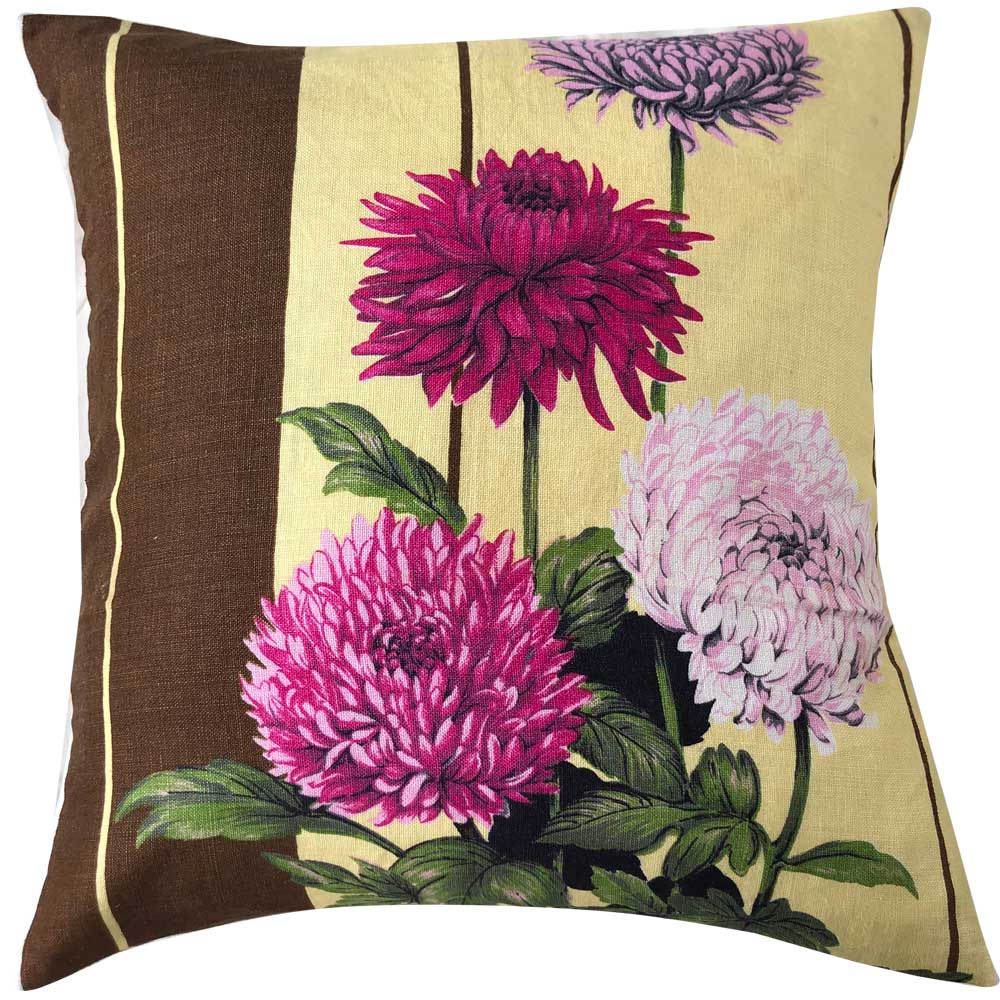 Chrysanthemum blooms on yellow and chocolate vintage linen teatowel cushion cover