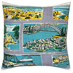 Cities of Australia vintage linen teatowel cushion cover