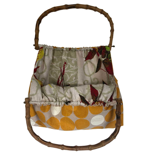 Cloth spot fabric bamboo handled tote
