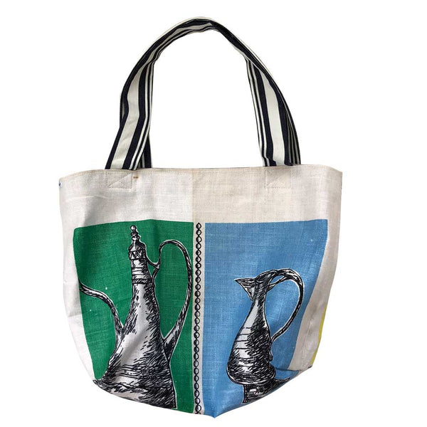 Large tote with coloured panels and line drawings