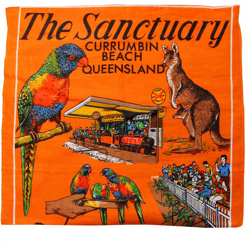Love And West Currumbin bird sanctuary vintage teatowel cushion cover