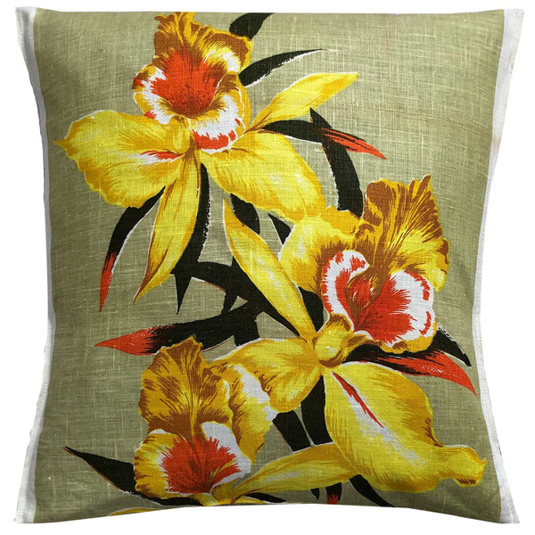 Cymbidium Orchids on vintage linen teatowel cushion cover
