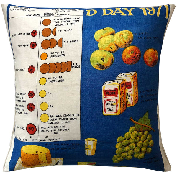 DDay 1971 decimal currency change teatowel cushion cover