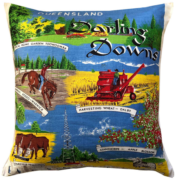 Darling Downs carnival of flowers on a vintage linen cushion cover