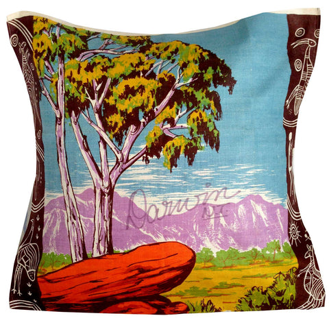 Darwin vintage linen teatowel cushion cover