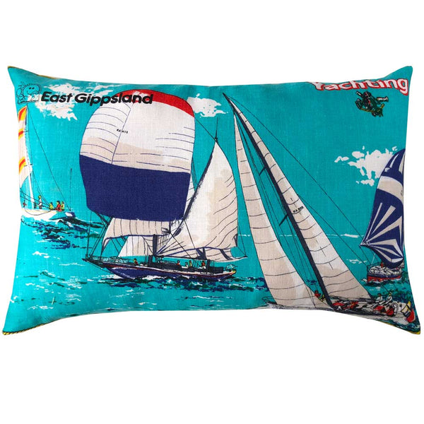 East Gippsland yachting vintage teatowel cushion cover