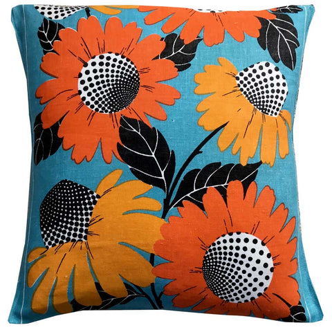Cone flowers on a cushion. Vintage linen teatowel cushion cover