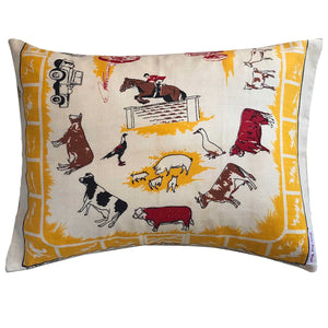 Farmyard and equestrian vintage linen teatowel cushion cover