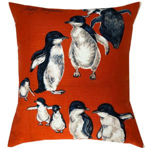 Fairy Penguins on parade on orange linen