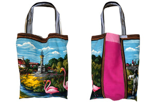 Flamingoes in the home counties vintage linen teatowel tote bag