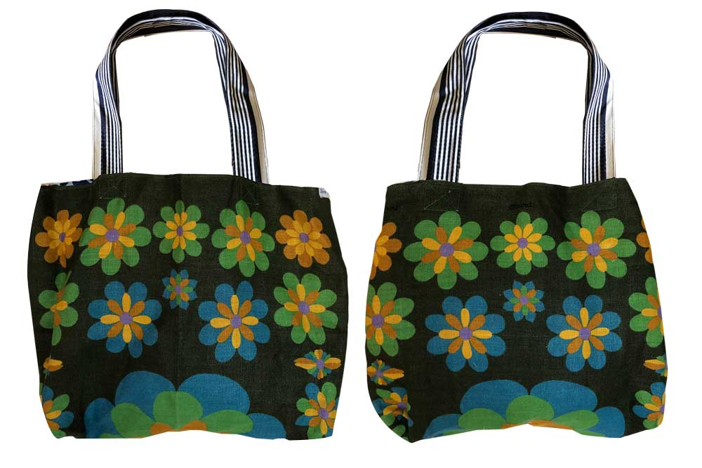 Floral on forest green background teatowel tote