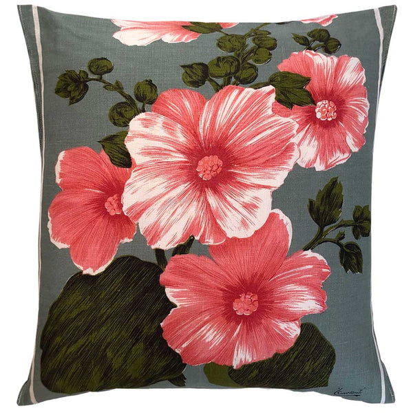Lovely hibiscus on sage vintage linen cushion