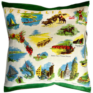 Fly by Qantas linen cushion cover