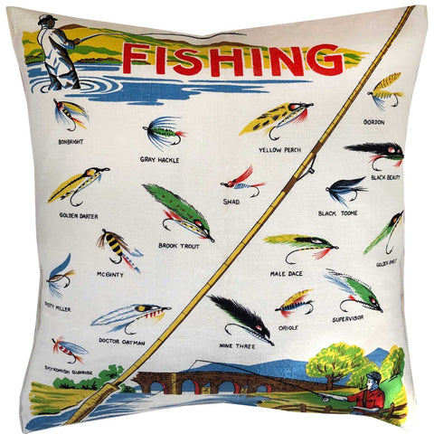 Fly fishing vintage linen teatowel cushion cover