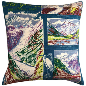 Fox glacier new zealand vintage linen teatowel cushion cover
