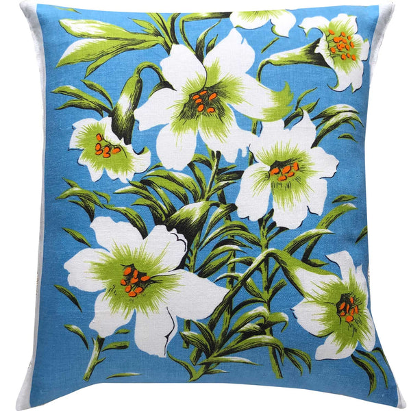 Daylillies vintage linen teatowel cushion cover