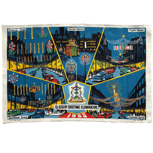 Glasgow Christmas lights vintage linen teatowel