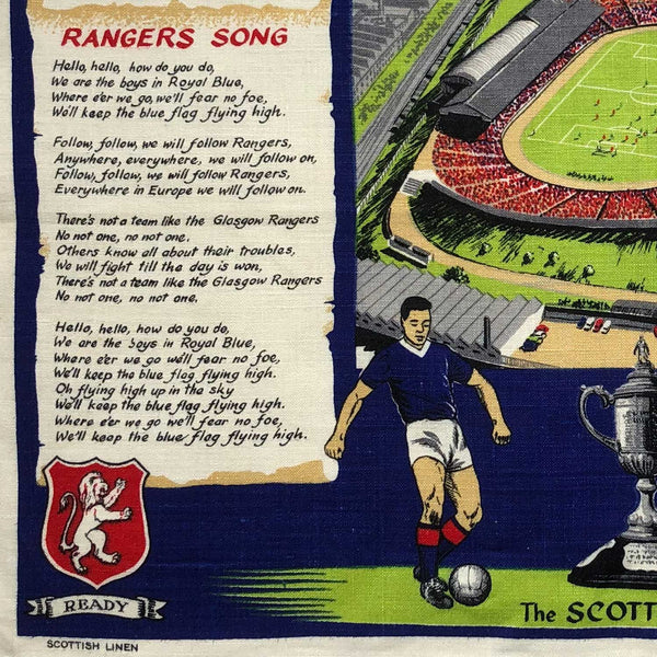 Glasgow Ranger football club vintage linen teatowel