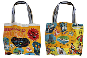 Gold Coast sunshine teatowel tote