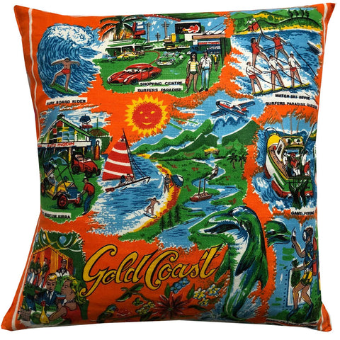 Gold Coast vintage souvenir teatowel cushion cover