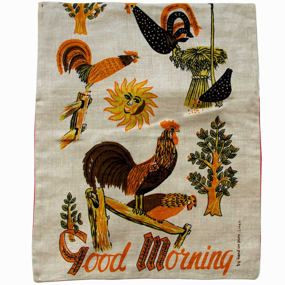 Love And West Good Morning vintage teatowel cushion cover