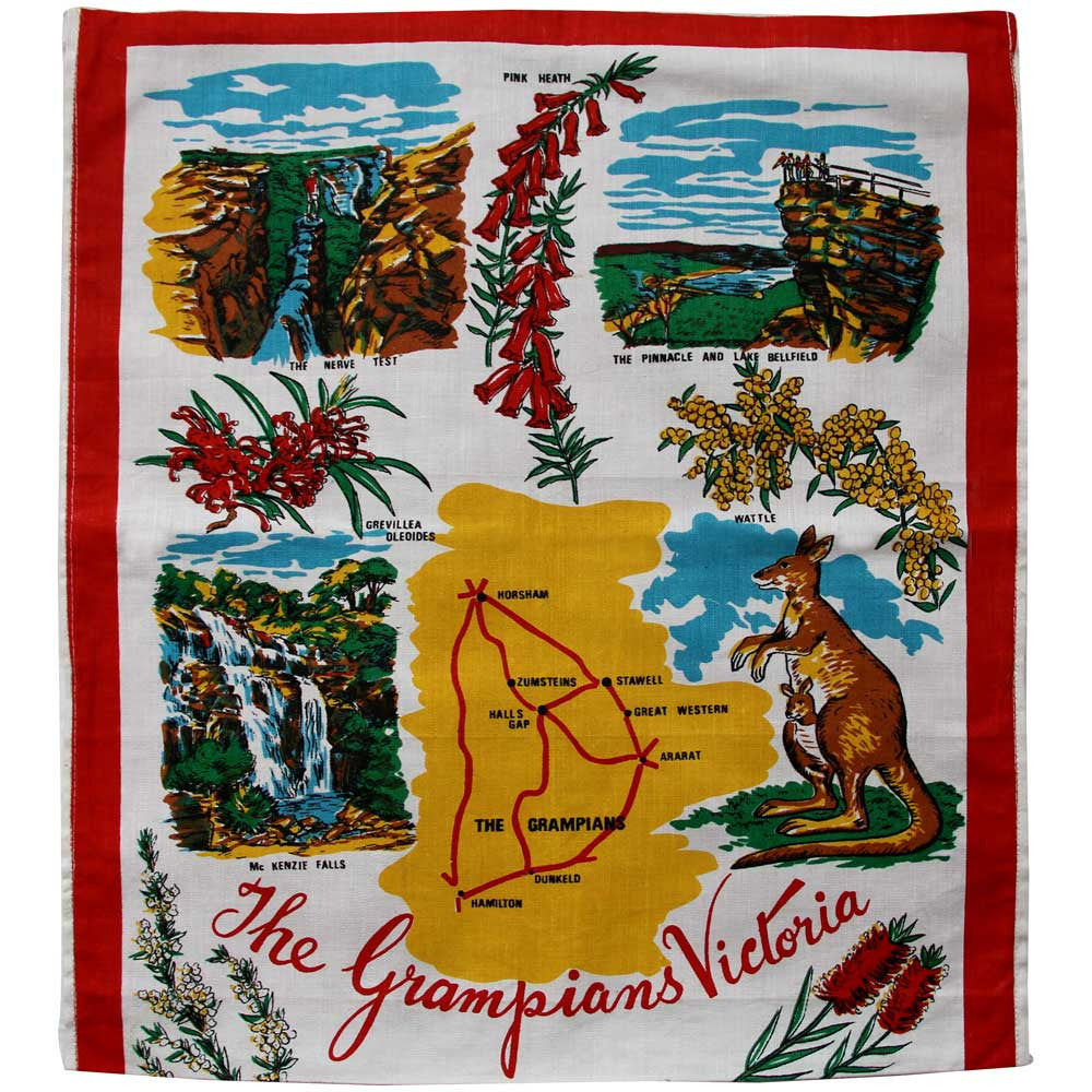 Love And West Grampians vintage linen teatowel cushion cover
